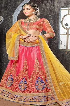 Attractive Pink Jacquard Designer Heavy Embroidery Zari Work Lehenga Choli Lehenga Choli