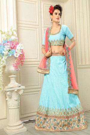 Desirable Sky Blue Banglori Silk Designer Heavy Embroidery Zari Work Lehenga Choli