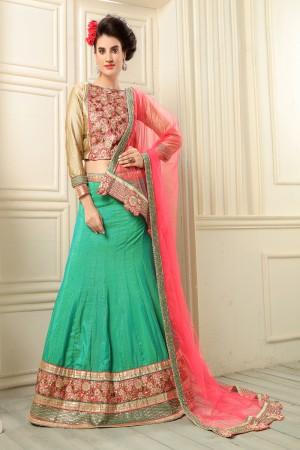 Designer Green Banarasi Silk Designer Heavy Embroidery Zari Work Lehenga Choli