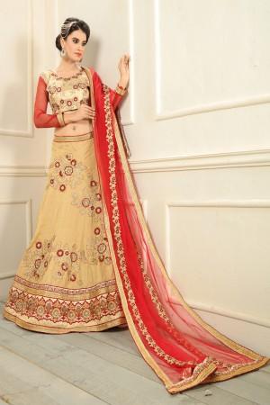 Beguiling Beige Silk Designer Heavy Embroidery Zari Work Lehenga Choli