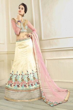 Alluring Off White Silk Designer Heavy Embroidery Zari Work Lehenga Choli