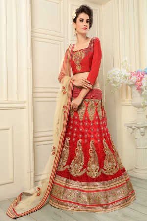 Enriching Red Net Designer Heavy Embroidery Zari Work Lehenga Choli