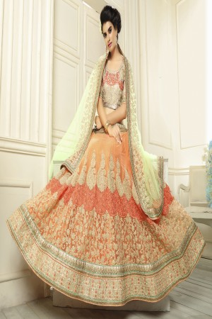Fantastic Orange Net Designer Heavy Embroidery Zari Work Lehenga Choli