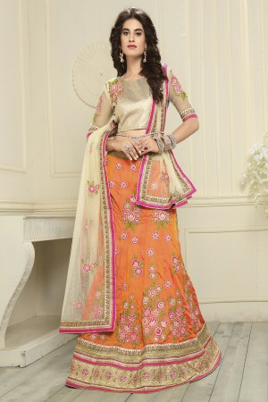 Majestic Orange Silk Designer Heavy Embroidery Zari Work Lehenga Choli