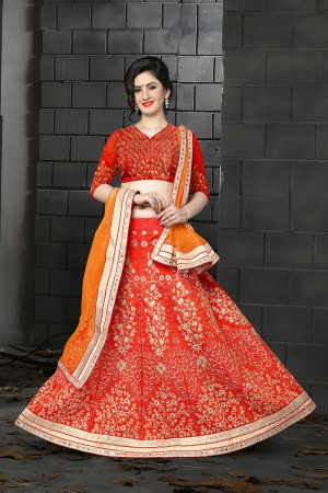 Distinctive Red Silk Designer Heavy Embroidery Zari Work and Hand Work Lehenga Choli