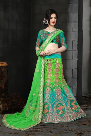 Engrossing Cyan & Green Silk Designer Heavy Embroidery Zari Work and Hand Work Lehenga Choli