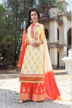 Enchanting Off White Georgette Heavy Embroidery Work Salwar Kameez