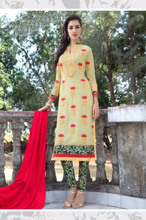 Ethereal Light Yellow Georgette Heavy Embroidery Work Salwar Kameez