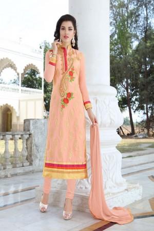 Amazing Peach Georgette Heavy Embroidery Work Salwar Kameez