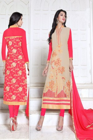 Applaudable Beige&Dark Pink Georgette Heavy Embroidery Work Salwar Kameez
