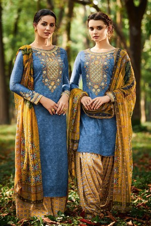 Charming Light Blue Pure Cotton Satin Heavy Embroidery with Digital Print Top Salwar Kameez