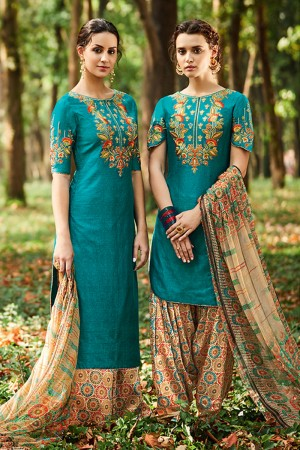 Exuberant Cyan Pure Cotton Satin Heavy Embroidery with Digital Print Top Salwar Kameez