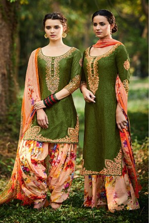 Awesome Mehendi Pure Cotton Satin Heavy Embroidery with Digital Print Top Salwar Kameez