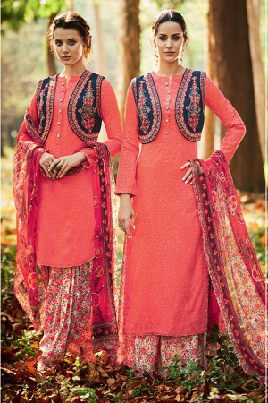 Elegant Orange Pure Cotton Satin Heavy Embroidery with Digital Print Top Salwar Kameez