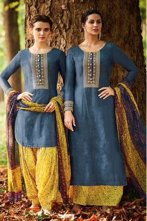 Outstanding Marin Blue Pure Cotton Satin Heavy Embroidery with Digital Print Top Salwar Kameez