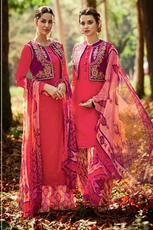 Immaculate Dark Pink Pure Cotton Satin Heavy Embroidery with Digital Print Top Salwar Kameez