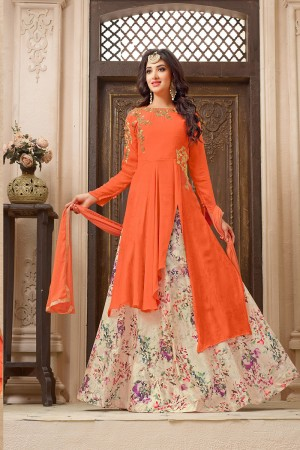 Glamorous Orange Georgette Heavy Embroidery Patch Work on Top with Digital Print Lehenga Salwar Kameez