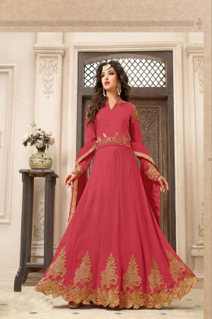 Aesthetic Peach Georgette Heavy Embroidery on Neck with Embroidery Dupatta Salwar Kameez