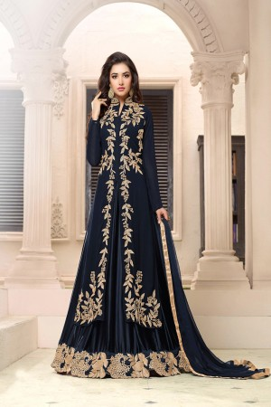 Amiable Black Georgette Heavy Embroidery on Neck with Embroidery Dupatta Salwar Kameez