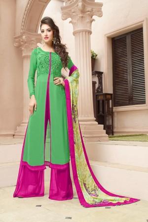 Adorable Green Georgette Heavy Embroidery on Top With Digital Printed Dupatta Salwar Kameez