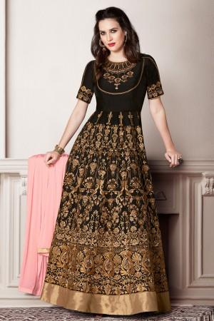 Graceful Dark Brown Faux Georgette Heavy Embroidery Kali Work With Stone Work Salwar Kameez