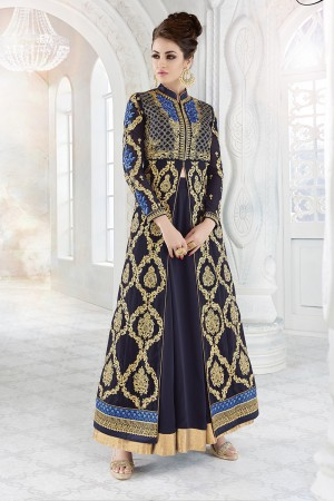 Beautiful Dark Blue Georgette Heavy Embroidery Work with Stone Work and Lace Border Salwar Kameez