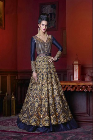 Engrossing Royal blue Silk Heavy Embroidery Kali Work Salwar Kameez