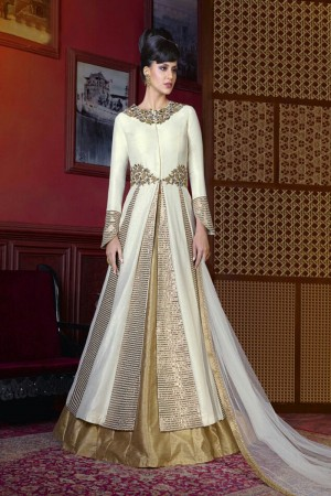Ambitious Off White Silk Embroidery Patch Work Salwar Kameez