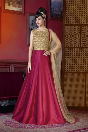 Dreamy Dark Pink Silk Heavy Embroidery Kali Work Salwar Kameez