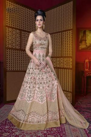 Designer Pink Silk Heavy Embroidery Kali Work Salwar Kameez