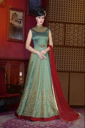 Alluring Apple Green Silk Heavy Embroidery Kali Work Salwar Kameez