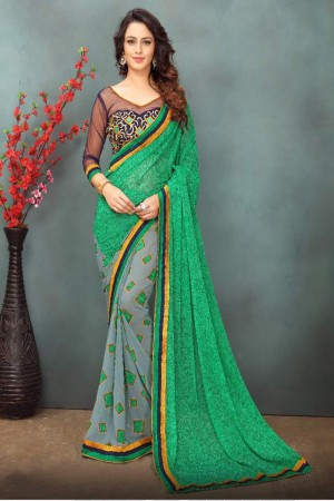 Refreshing Green Wetless Abstract and Floral Print with Lace Border Saree with Blouse