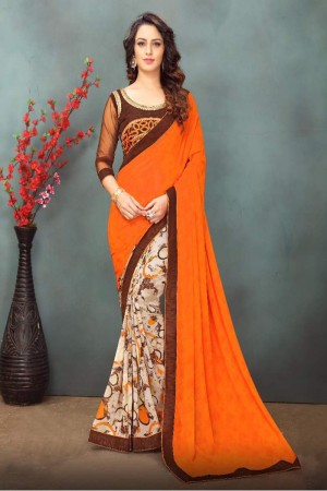 Modish Orange&Cream Wetless Abstract and Floral Print with Lace Border Saree with Blouse