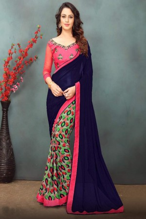 Splendiferous Blue Wetless Abstract and Floral Print with Lace Border Saree with Blouse