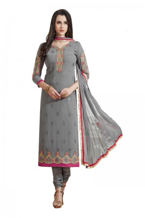 Stupendous Grey Georgette Straight Cut Suit With Thread Embroidery Work in Neck & Arms Salwar Kameez