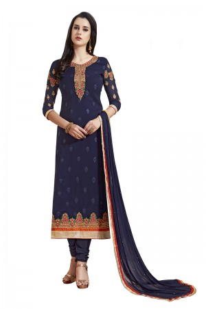 Vibrant Royal Blue Georgette Straight Cut Suit With Thread Embroidery Work in Neck & Arms Salwar Kameez