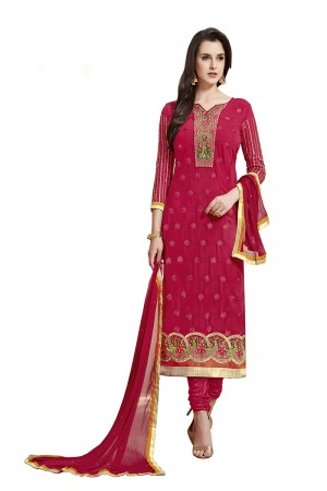 Marvelous Dark Pink Georgette Straight Cut Suit With Thread Embroidery Work in Neck & Arms Salwar Kameez