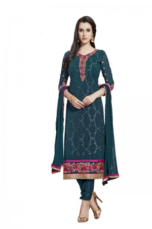 Pleasant Marin Blue Georgette Straight Cut Suit With Thread Embroidery Work in Neck & Arms Salwar Kameez