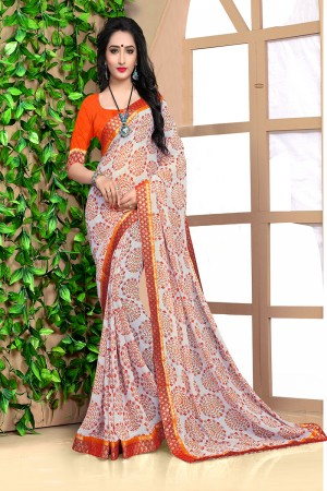 Mind Blowing Off white Georgette Abstract and Floral Print with Lace Border Saree