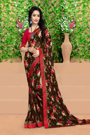 Blissful Brown Georgette Abstract and Floral Print with Lace Border Saree