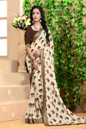 Sparkling Cream Georgette Abstract and Floral Print with Lace Border Saree