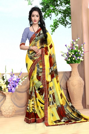 Pleasant Yellow Georgette Abstract and Floral Print with Lace Border Saree