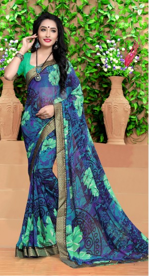 Impressive Blue Georgette Abstract and Floral Print with Lace Border Saree
