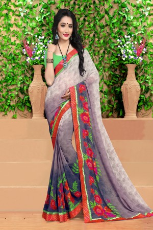 Stylish Multicolor Georgette Abstract and Floral Print with Lace Border Saree