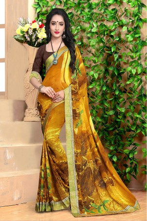 Peppy Mustard Georgette Abstract and Floral Print with Lace Border Saree
