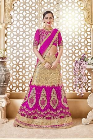 Stupendous Beige&Rani Pink Net Designer Heavy Embroidery and Hand Work Lehenga Choli