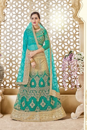 Blissful Sky Blue Banglori Silk Designer Heavy Embroidery and Hand Work Lehenga Choli