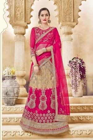 Sparkling Pink Banglori Silk Designer Heavy Embroidery and Hand Work Lehenga Choli