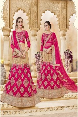 Vibrant Pink Banglori Silk Designer Heavy Embroidery and Hand Work Lehenga Choli