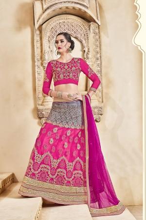 Rust Pink Banglori Silk Designer Heavy Embroidery and Hand Work Lehenga Choli